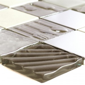 Glass Stainless Steel Natural Stone Mosaic Emporia Brown Beige Silver