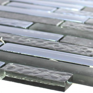 Glass Stone Stainless Steel Mosaic Wilmont Black Silver