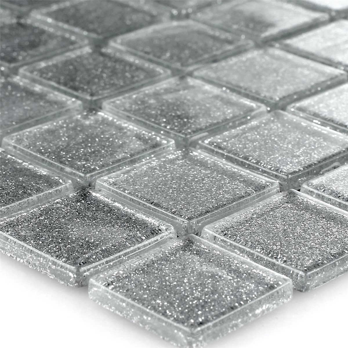 Clear Glass Mosaic Tiles Silver Glitter 25x25x4mm | www.mosafil.co.uk