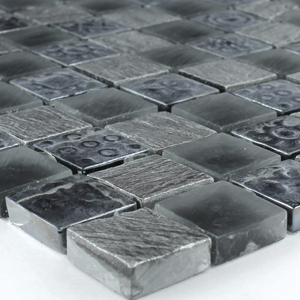 Mosaic Tiles Glass Natural Stone Orlando Black