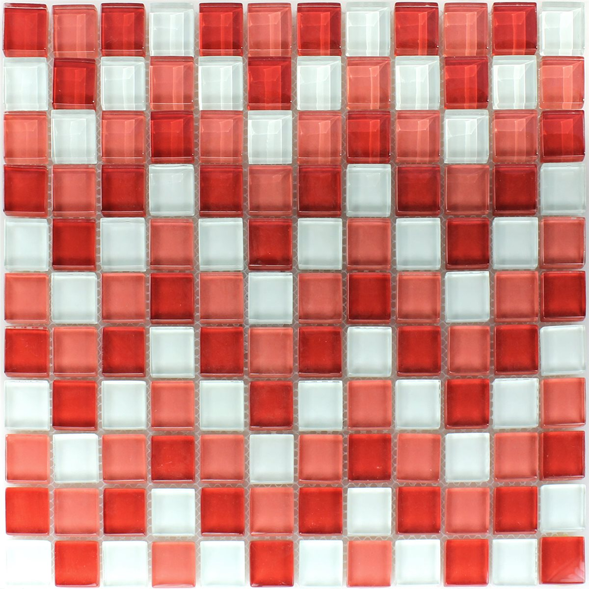 Clear Gl Mosaic Tiles White Red 25x25x8mm Www Mosafil Co Uk