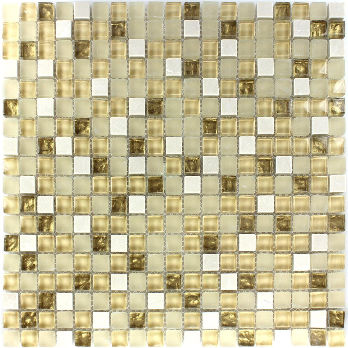 Mosaic Tiles Gl Natural Stone White Gold Mix