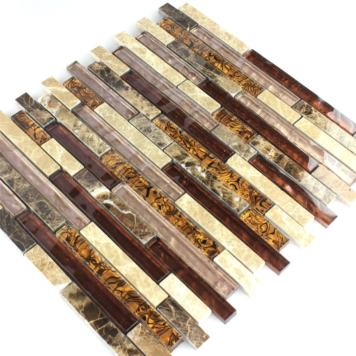 Crystal Marble Glass Mosaic Tiles Brown Beige | www.mosafil.co.uk