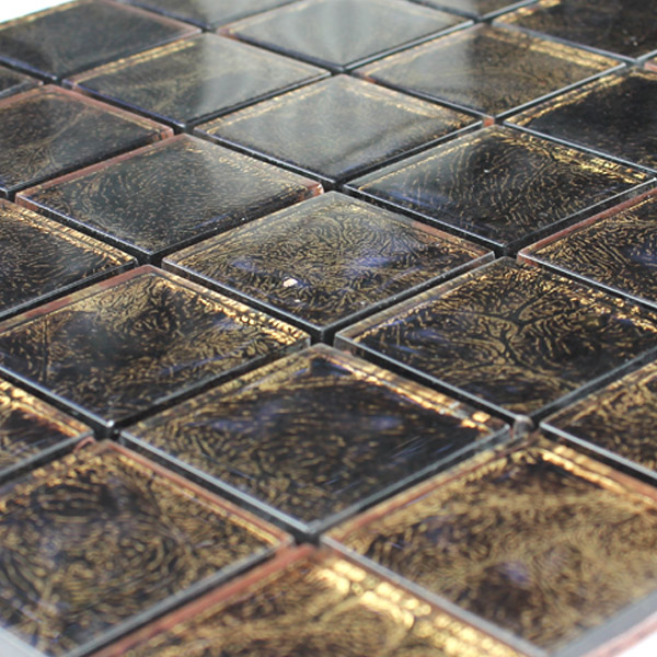 Mosaic Tiles Gl 48x48x8mm Brown Gold Metal
