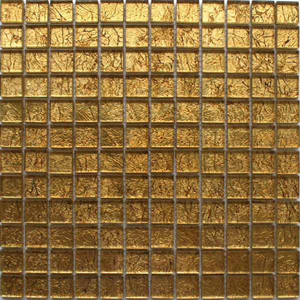 Glass Mosaic Tiles Gold Metal 23x23x8mm Mth30010m