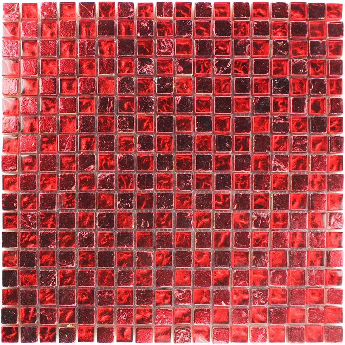 Glass Natural Stone Mosaic Tiles Fire Red