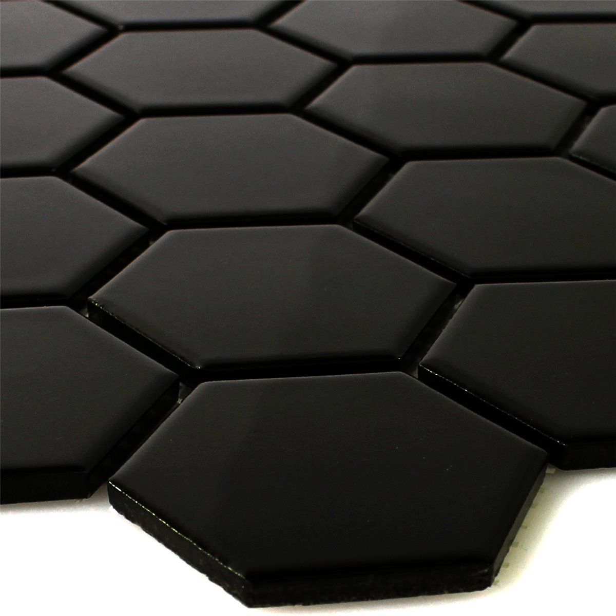 Black hexagon tile black and beige glass tile backsplash black ceramic mosaic tiles hexagon black glossy dailygadgetfo Image collections