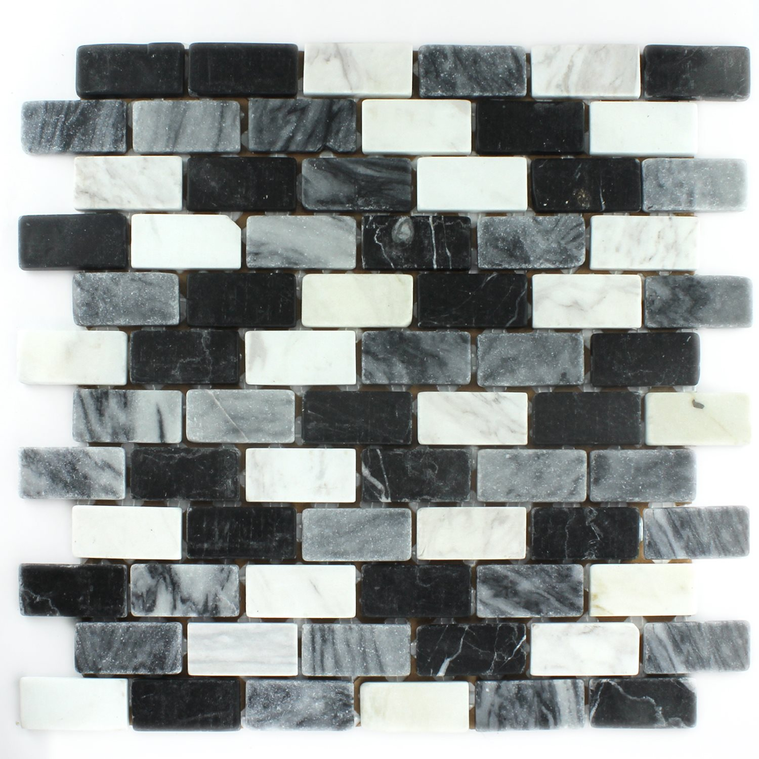 Natural Stone Mosaic Marble Black White Grey 23x48x8mm