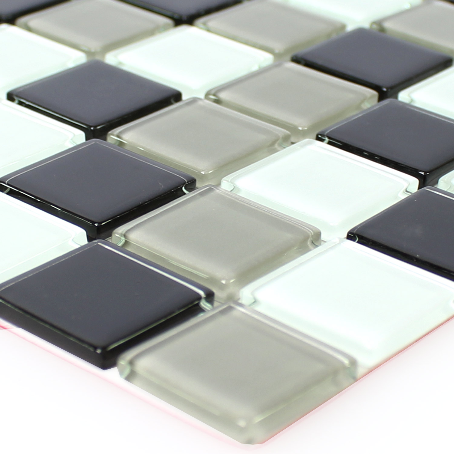 Self Adhesive Gl Mosaic Tiles Black Grey Tm33436