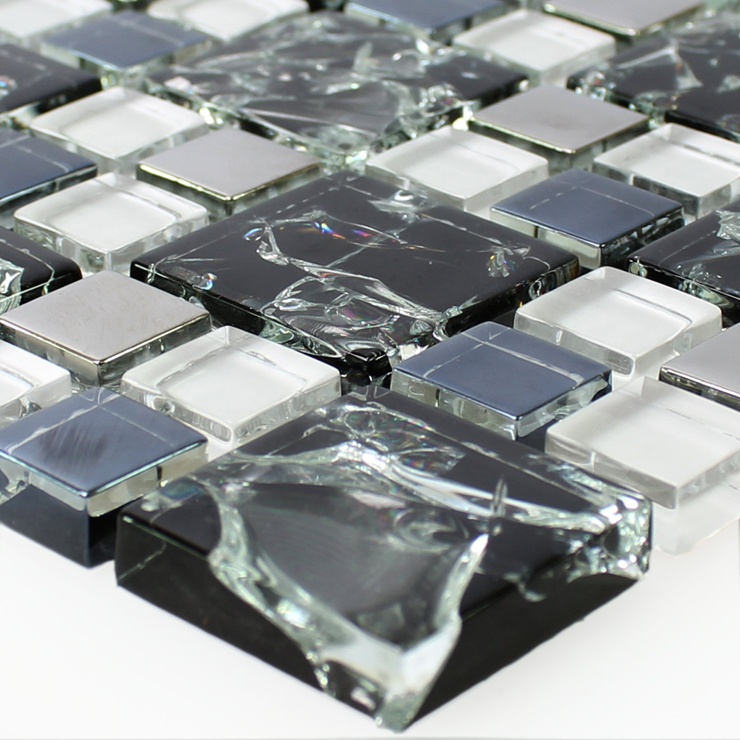 Mosaic Tiles Gl Stainless Steel Black Silver Broken