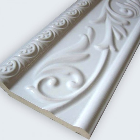 Ceramic Wall Border 10X30Cm White Glossy - Bor_Weiss_100